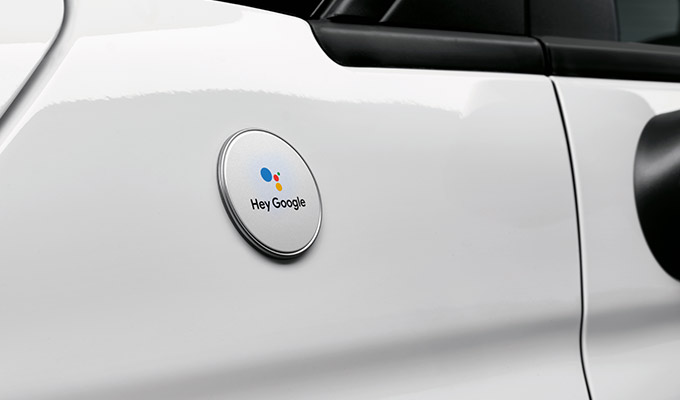 Sticker on the B-Pillar inspired by Google's colors