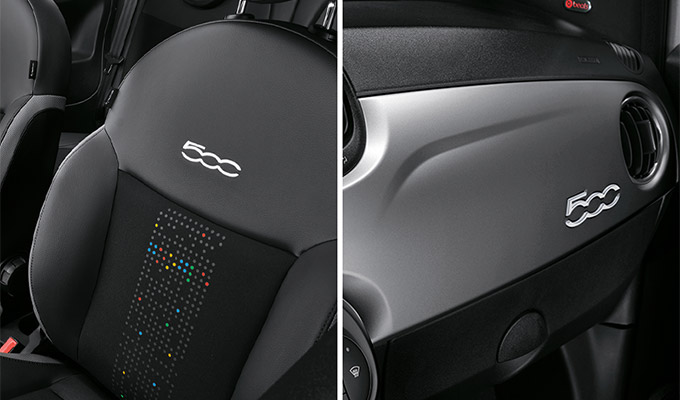 New «lively» seats and new dashboard Silver Matt with 500 logo