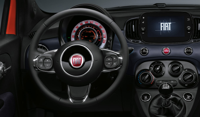 Techno-leather steering wheel with controls