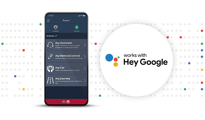 Voice Remote control thanks to Mopar® Connect and Google Assistant